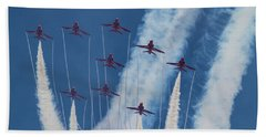 Red Arrows At Duxford Beach Towel by Ken Brannen