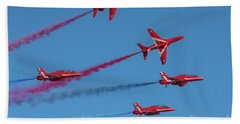 Beach Towel featuring the photograph Red Arrows Enid Break by Gary Eason