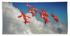 Beach Towel featuring the photograph Red Arrows Sky High by Gary Eason
