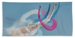 Beach Towel featuring the photograph Red Arrows Twister by Gary Eason