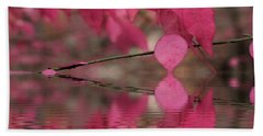 Red Autumn Leaf Reflections Beach Towel by Judy Palkimas