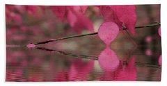 Red Autumn Leaf Reflections Beach Sheet by Judy Palkimas