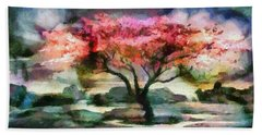 Red Autumn Tree Beach Towel