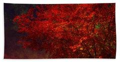 Red Autumn Tree Beach Towel