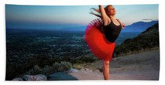 Red Ballerina Beach Towel