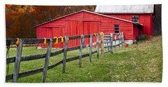 Red Barn In Autumn - Beach Towel