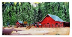 Red Barn In Autumn Beach Sheet
