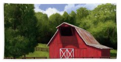 Beach Towel featuring the painting Red Barn In Franklin Tn by Janet King