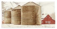 Red Barn In Snow Beach Sheet