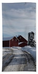 Red Barn In The Snow Beach Sheet
