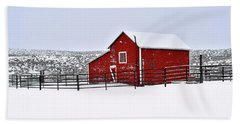 Red Barn In Winter Beach Sheet