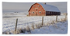 Red Barn In Winter Coat Beach Towel