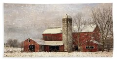 Red Barn In Winter Beach Towel