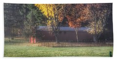 0041 - Red Barn On A Foggy Fall Morning Beach Towel