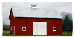 Red Barn- Photography By Linda Woods Beach Towel