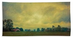 Red Barn Under Stormy Skies Beach Towel by Don Schwartz