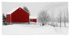 Red Barn Winter Landscape Beach Towel