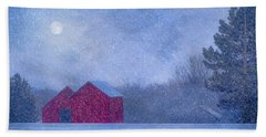 Red Barns In The Moonlight Beach Towel