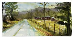 Red Barns On The Right Beach Sheet by Judith Levins