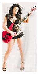 Red Bass Guitar Beach Towel