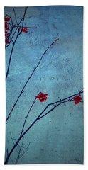 Red Berries Blue Sky Beach Towel