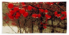 Red Berries In Winter Beach Sheet