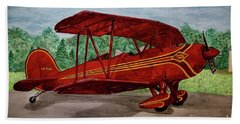 Red Biplane Beach Towel by Megan Cohen