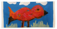 Red Bird In Grass Beach Towel