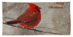 Red Bird In Snow Christmas Card Beach Sheet by Lois Bryan