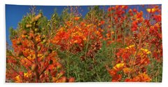 Beach Towel featuring the photograph Red Bird Of Paradise Garden by Chris Tarpening