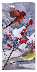Red Birds Of Christmas Beach Towel