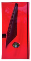 Beach Sheet featuring the photograph Red Black And Shapes On Hot Rod Hood by Gary Slawsky