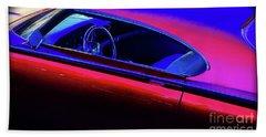 Beach Towel featuring the photograph Red Blue Car by Joseph J Stevens