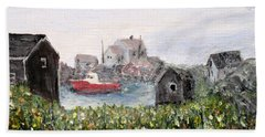 Beach Towel featuring the painting Red Boat In Peggys Cove Nova Scotia  by Ian  MacDonald