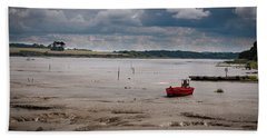 Red Boat On The Mud Beach Sheet
