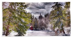 Beach Towel featuring the photograph Red Boathouse After The Storm by David Patterson