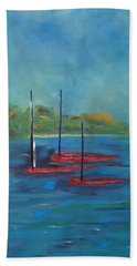 Beach Towel featuring the painting Red Boats by Judith Rhue