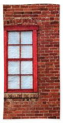 Red Brick And Window Beach Towel by James Eddy