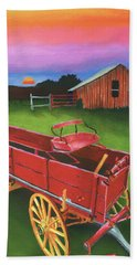 Red Buckboard Wagon Beach Sheet