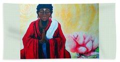 Red Buddha Lotus Beach Towel by Jackie Carpenter