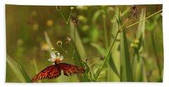 Red Butterfly In Daisy Field Beach Sheet