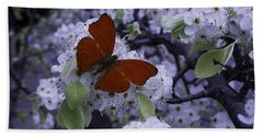Red Butterfly On Cherry Blossoms Beach Towel