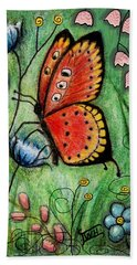 Red Butterfly Beach Towel