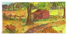 Beach Sheet featuring the painting Red Cabin In Autumn  by Cathie Richardson