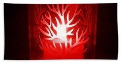 Red Candle Light Beach Sheet