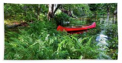 Red Canoe In The Adk Beach Sheet by David Patterson