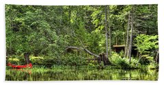 Beach Sheet featuring the photograph Red Canoe Panorama by David Patterson