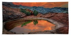 Red Canyon Reflection Beach Towel