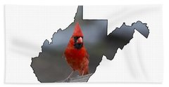 Red Cardinal Looking For Food Beach Towel