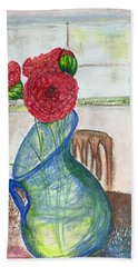 Beach Towel featuring the mixed media Red Carnations by Norma Duch